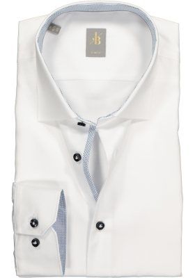 Jacques Britt overhemd mouwlengte 7, Como, Slim Fit, wit twill (contrast)