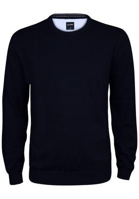 OLYMP heren trui katoen, O-hals, marine blauw