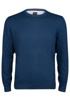 OLYMP heren trui katoen, O-hals, jeans blauw