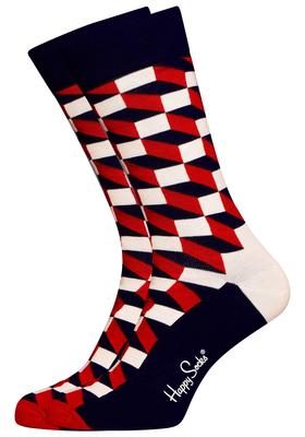 Happy Socks herensokken Filled Optic Sock rood-wit-blauw