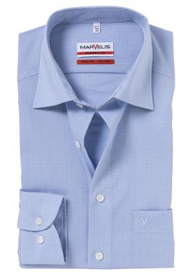 MARVELIS Modern Fit overhemd, blauw / wit geruit