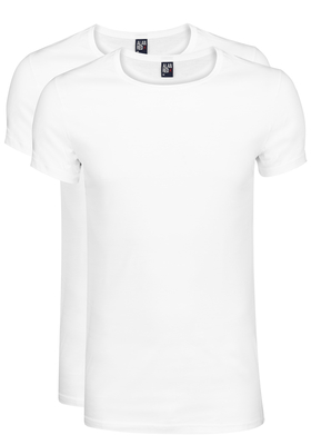 Alan Red T-shirts James (2-pack), diepe O-hals, wit