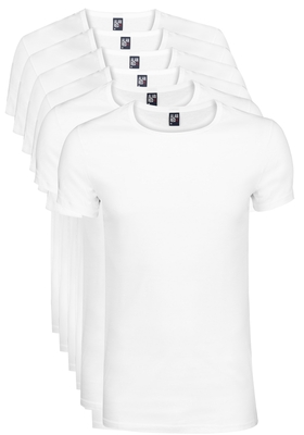 Actie 6-pack: Alan Red T-shirts James, diepe O-hals, wit