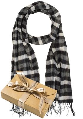 Heren sjaal, grijs geruit (in cadeauverpakking)