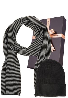 Set sjaal met muts, zwart en gestreept (in cadeaubox)