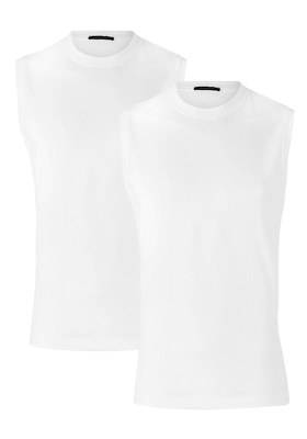 Schiesser American T-shirts, muscle shirt O-hals 2-pack, wit