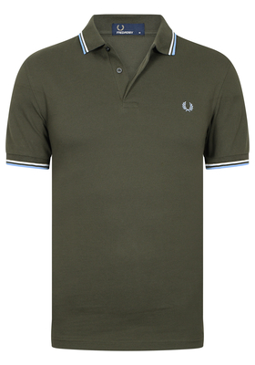 Fred Perry M3600 shirt, polo Dark Fern / Snow White / Sky Blue
