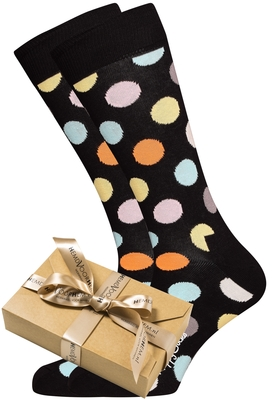 Happy Socks herensokken Big Dot Sock zwart met kleur (in cadeauverpakking)