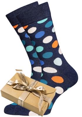 Happy Socks herensokken Big Dot Sock jeans blauw met stip in cadeauverpakking