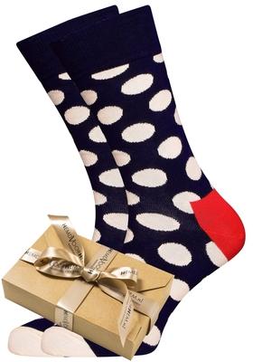 Happy Socks herensokken Big Dot Sock blauw met witte stippen (in cadeauverpakking)