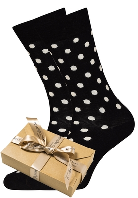 Happy Socks herensokken Dot Sock zwart met wit (in cadeauverpakking)