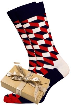 Happy Socks herensokken Filled Optic Sock rood-wit-blauw (in cadeauverpakking)