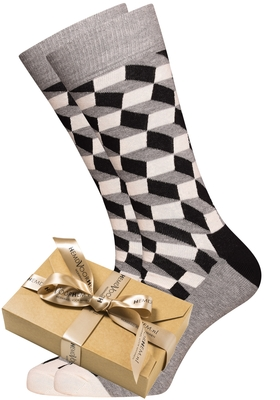 Happy Socks herensokken Filled Optic Sock zwart-wit-grijs (in cadeauverpakking)