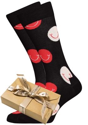 Happy Socks herensokken Smile, zwart-rood-wit (in cadeauverpakking)