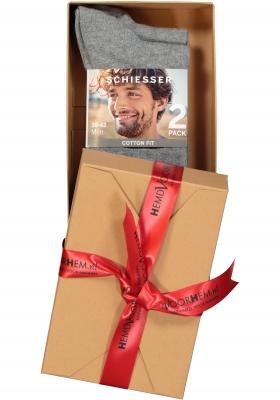 Schiesser herensokken 2-pack, grijs (in cadeauverpakking)