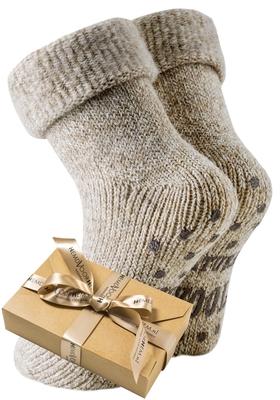 Homepads sokken wol, beige (in cadeauverpakking)