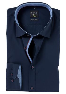 OLYMP No. 6 Six, Super Slim Fit overhemd mouwlengte 7, blauw (contrast)