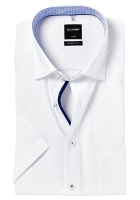 OLYMP Modern Fit, overhemd korte mouw, wit (lichtblauw contrast)