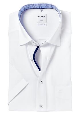 OLYMP Comfort Fit, overhemd korte mouw, wit (blauw contrast)