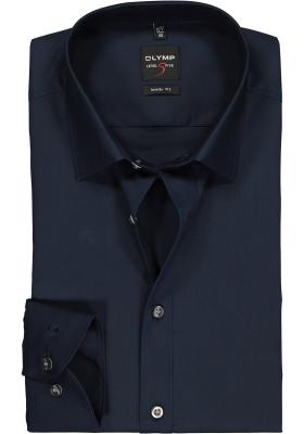 OLYMP Level 5 body fit overhemd, mouwlengte 7, nacht blauw