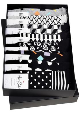 Heren cadeaubox: 8 dagen Happy Socks (zwart)