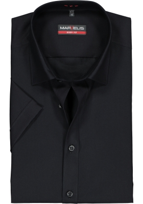 MARVELIS Body Fit overhemd korte mouwen, zwart
