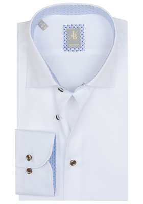 Jacques Britt overhemd, Rimini, Custom Fit, wit structuur (contrast)