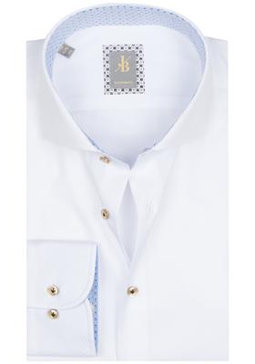Jacques Britt overhemd, Roma, Custom Fit, wit structuur (contrast)