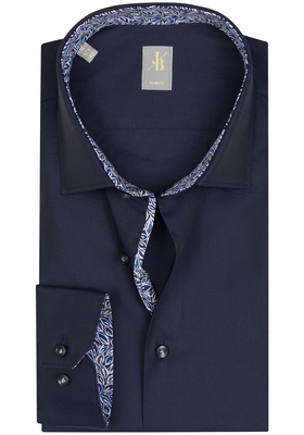 Jacques Britt overhemd, Como, Slim Fit, blauw Twill (contrast)