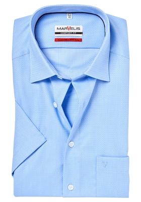 MARVELIS Comfort Fit, overhemd korte mouw, lichtblauw dessin