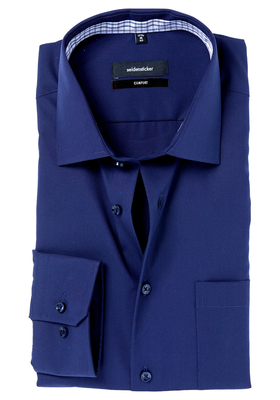 Seidensticker Comfort Fit overhemd, mouwlengte 7, donkerblauw (contrast)