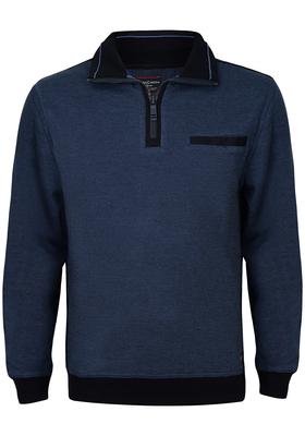 Casa Moda heren trui katoen, schipperstrui, blauw gemêleerd