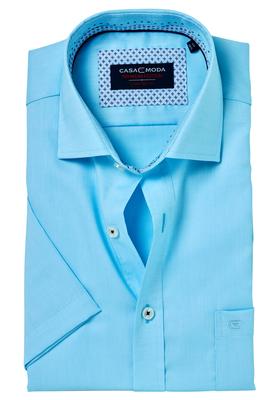 Casa Moda Comfort Fit, overhemd korte mouw, turquoise structuur (blauw contrast)