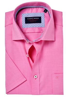 Casa Moda Comfort Fit, overhemd korte mouw, roze structuur (blauw contrast)