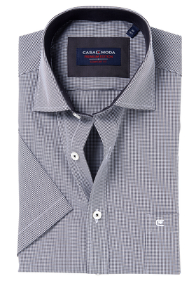 Casa Moda Comfort Fit, overhemd korte mouw, zwart geruit (contrast)