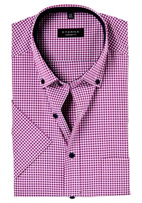 ETERNA Comfort Fit, korte mouw, roze geruit (button-down)