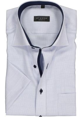 ETERNA comfort fit overhemd, korte mouw, structuur heren overhemd, lichtblauw met wit (donkerblauw contrast)