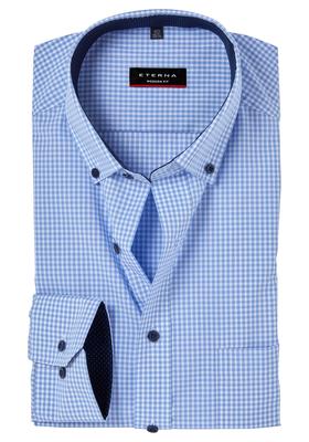 ETERNA Modern Fit overhemd, lichtblauw geruit (button-down)