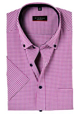 Eterna Modern Fit overhemd, korte mouw, roze geruit