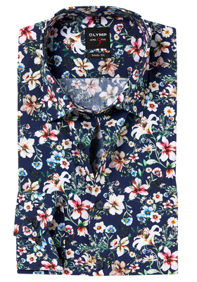 OLYMP Level 5 Body Fit overhemd, donkerblauw bloem dessin