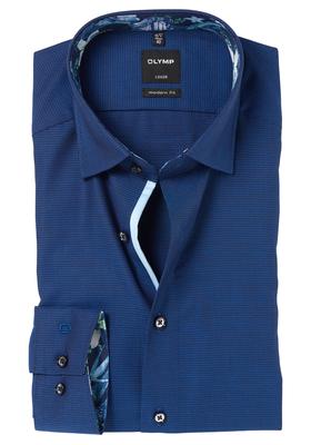OLYMP Modern Fit overhemd, donkerblauw structuur (gebloemd contrast)