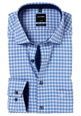OLYMP Modern Fit overhemd, blauw-wit geruit (contrast)
