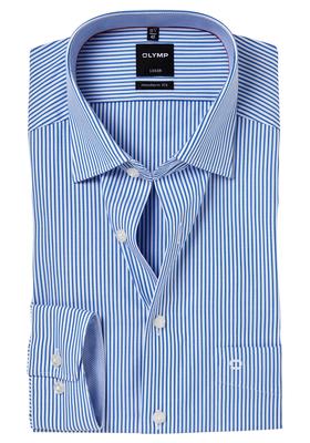 OLYMP Modern Fit overhemd, blauw gestreept (contrast)