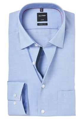 OLYMP Modern Fit overhemd, blauw structuur (gestipt contrast)