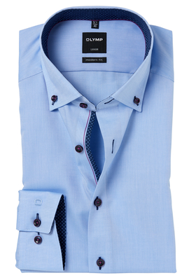 OLYMP Modern Fit overhemd, blauw oxford (contrast)