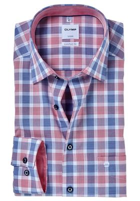 OLYMP Comfort Fit overhemd, rood-blauw geruit (contrast)