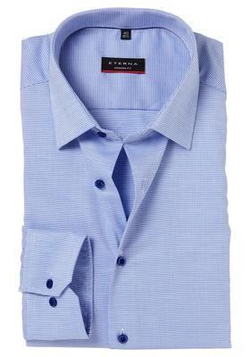Eterna Modern Fit overhemd, blauw natté structuur