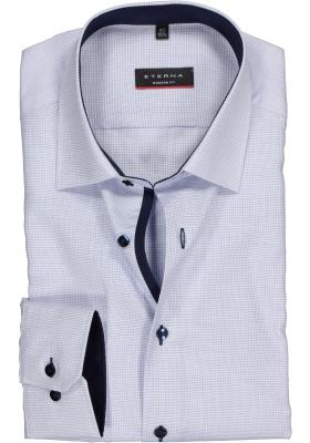 ETERNA modern fit overhemd, structuur heren overhemd, lichtblauw met wit (donkerblauw contrast)