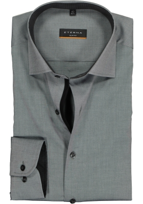 ETERNA slim fit stretch overhemd, chambray stretch heren overhemd, antraciet (zwart contrast)