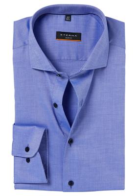 ETERNA Slim Fit Stretch overhemd, blauw natté structuur